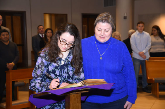 Sophomore student candidate, Phoebe Jane Miller, with sponsor Campus Minister Sister Patricia Evanick, D.C.
