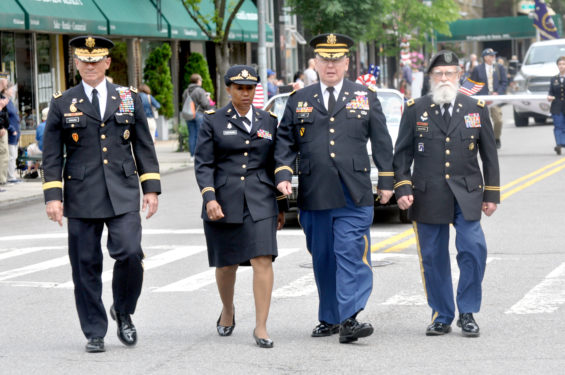 Grand Marshal, Lieut. Gen. Robert L. Caslen, superintendent of the U.S. Military Academy at West Point, accompanied by chaplains,  including Father (Colonel) Edward R.P. Kane, and Rabbi (Colonel) Jacob Goldstein.