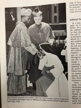 Archbishop McEntegart - Sister Dolorita, Cardinal Rugambwa - Our Lady of Victory