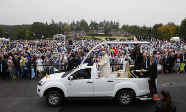 Pope Francis greets the crowd as he visits the Knock Shrine in Knock, Ireland, Aug. 26. (CNS photo/Paul Haring)