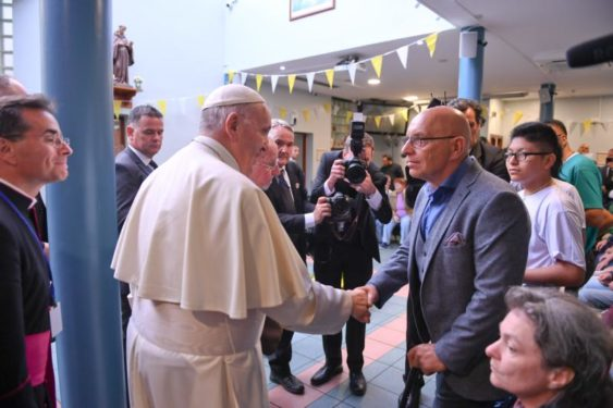 Pope Francis visits the Capuchin Fathers' day center for homeless families in Dublin Aug. 25. (CNS photo/courtesy Alessia Giuliani, Catholic Press Photo)