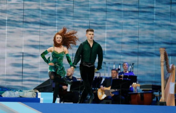 Dancers with Riverdance perform as Pope Francis attends the Festival of Families in Croke Park stadium in Dublin Aug. 25. (CNS photo/Paul Haring)