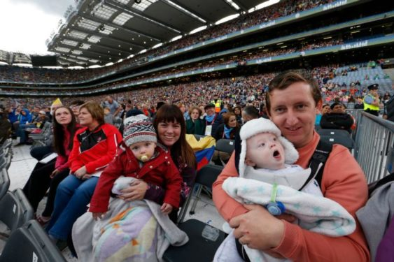Family members attend the Festival of Families in Croke Park stadium in Dublin Aug. 25. (CNS photo/Paul Haring)