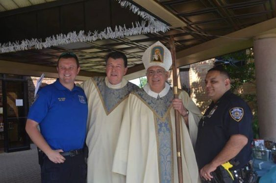 NYPD's 63rd Precinct with Bishop DiMarzio. (Photo: Mike Wright)