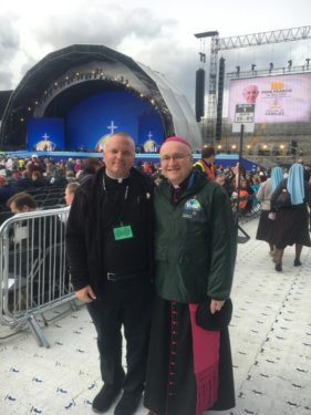 Father Josephjude Gannon and Auxiliary Bishop James Massa at Croke Park in Dublin.