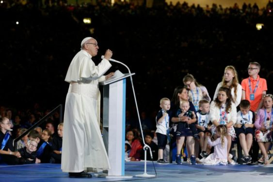 Pope Francis speaks to families during the Festival of Families in Croke Park stadium in Dublin Aug. 25. (CNS photo/Paul Haring)