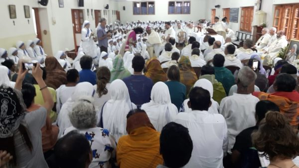 The Missionaries of Charity Mother House in Calcutta celebrated the feast of St. Teresa of Calcutta, Sept.5. In this picture is Fr. Pascual Cerberus, C.C.M. and International Coordinator and Superior General Sister Prema M.C. (Photos courtesy Father Francis Rosario)