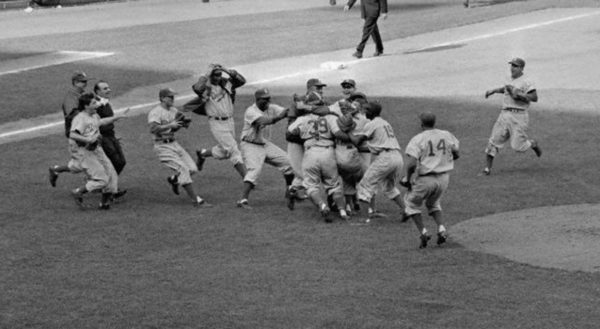 The Brooklyn Dodgers celebrate after winning the 1955 World Series. (Photo: Public Domain)