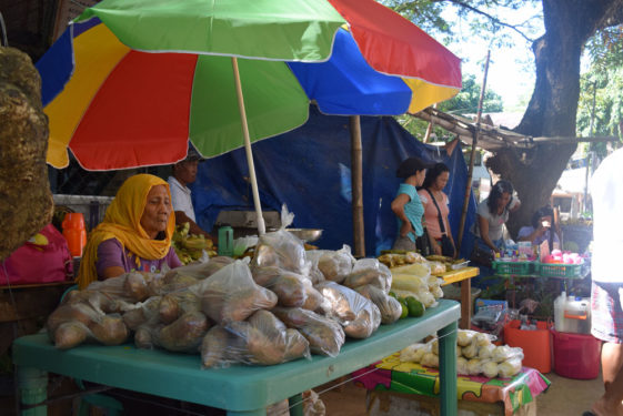 Local Coron residents sell fresh food delicacies in the busy municipal streets. Local media reported more than 20 casualties after the Super Typhoon. (Photo:Melissa Enaje)