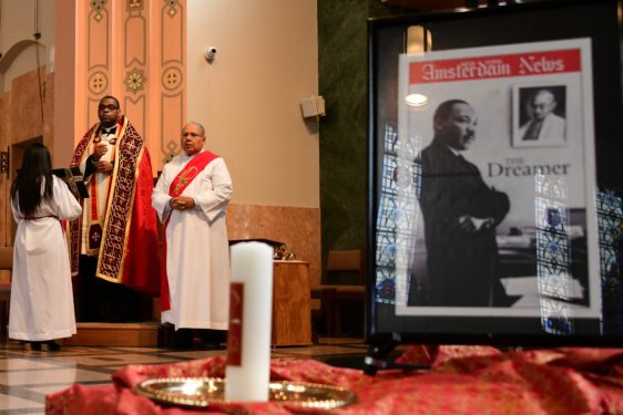 Father Alonzo Cox, diocesan coordinator of the Vicariate of Black Catholic Concerns, presided the prayer service. (Photos Jorge I. Dominguez-Lopez)