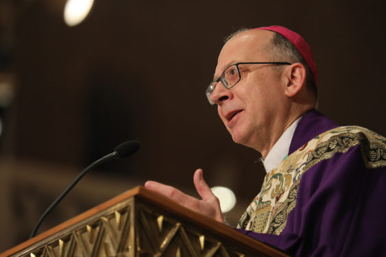 Bishop Barry C. Knestout of Richmond, Va., delivers the homily during the closing Mass of the National Prayer Vigil for Life Jan. 18 at the Basilica of the National Shrine of the Immaculate Conception in Washington. (Photo:Catholic News Service/Bob Roller)