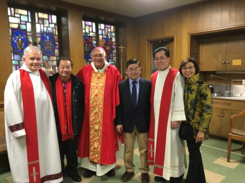 Left to right, Fr. John Vesey, Peter Tu, Executive Director Flushing Chinese Business Association, Bishop Nicholas DiMarzio, Councilman Peter Koo, and Veronica Tsang, Diocese Pastoral Council and St. Michael's School Board Member.