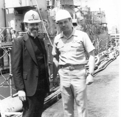 During a Bishop's Tour of the Brooklyn Navy Yard in 1984, Bishop Valero poses with Captain Bob Cepak.