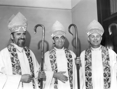 Bishops Rene Valero, Anthony J. Bevilacqua and Joseph M. Sullivan on the day they were ordained bishops in 1980 at Our Lady of Perpetual Help Basilica, Sunset Park.
