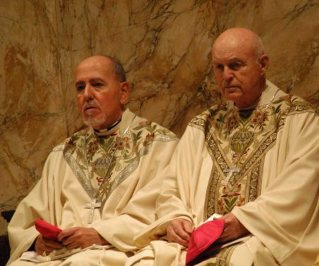 Bishops Valero and Joseph M. Sullivan, who were seminary classmates, participate in a liturgy at St. James Cathedral.