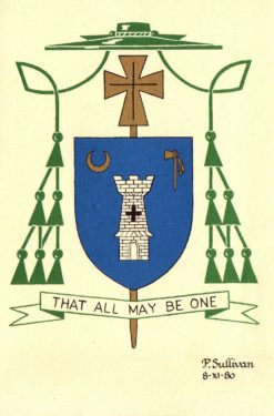 Color seal is Bishop Valero's coat of arms and episcopal motto.