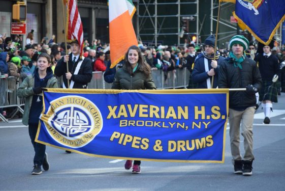 Xaverian H.S. Pipes and Drums Band from Bay Ridge was one of the first bands down fifth avenue.