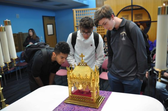 At Xaverian H.S., Bay Ridge, students venerated the relic of St. John Vianney throughout the school day.