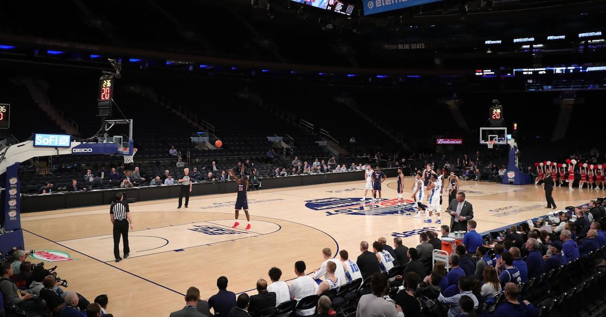 St. John's played in front of an empty Madison Square Garden during the first half of a Big East quarterfinal game. (Photo courtesy St. John's Athletic Communications)