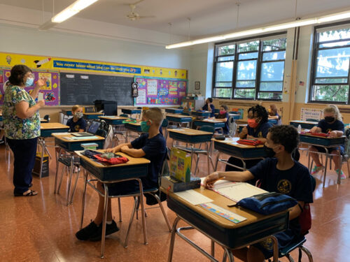 Students in class at Good Shepherd Catholic Academy, Marine Park (Photo: Erin DeGregorio)