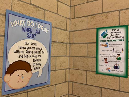 New health and safety signage at Good Shepherd Catholic Academy, Marine Park (Photo: Erin DeGregorio)