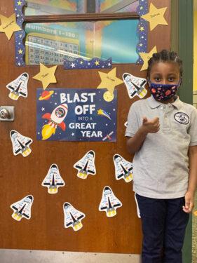 First grader Jaden Loristin at Midwood Catholic Academy, Flatlands (Photo: Erin DeGregorio)