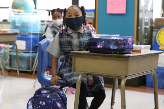 Second grader Nalani Harvey at Midwood Catholic Academy, Flatlands (Photo: Erin DeGregorio)