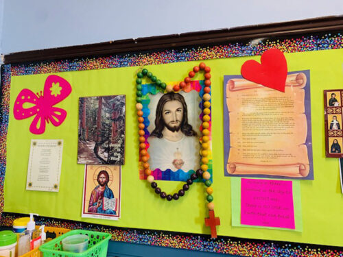 Colorful classroom decorations at St. Joseph the Worker Catholic Academy, Windsor Terrace. (Photo: Marie Cadotte)