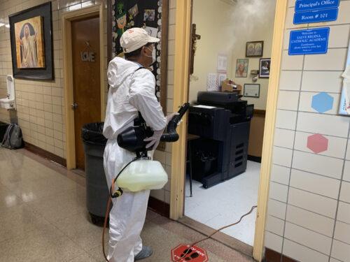 School cleaning took place Aug. 19 at Salve Regina Catholic Academy, East New York. (Photo: Erin DeGregorio)
