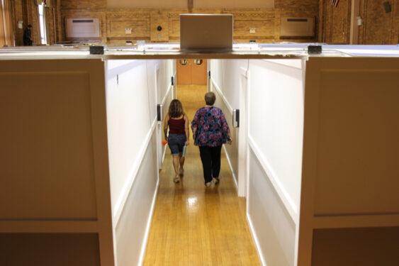 Walking through the new space designs at St. Athanasius Catholic Academy, Bensonhurst, Sept. 1. (Photo: Erin DeGregorio)