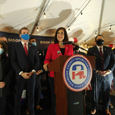 Congressmember-elect Nicole Malliotakis with Staten Island Republican Chair Brendan Lantry and Assemblymember-elect Michael Tannousis. (Photo: Courtesy of Rob Ryan)