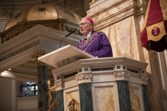 Bishop Nicholas DiMarzio is the main celebrant for the Ash Wednesday Mass at at St. James Cathedral, Downtown Brooklyn, Feb. 17, 2021.