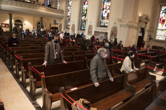 Ash Wednesday Mass at St. James Cathedral, Downtown Brooklyn, Feb. 17, 2021.