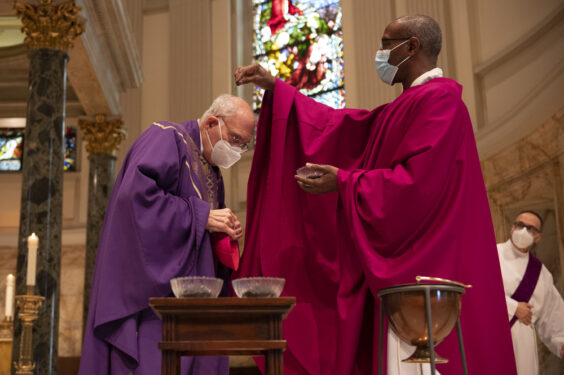 Bishop DiMarzio receives ashes for the beginning of Lent on Ash Wednesday, Feb. 17, 2021.